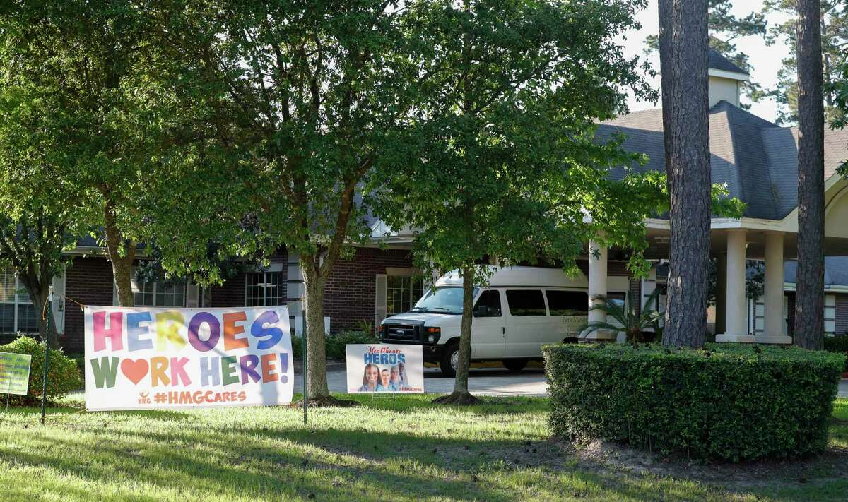 The Park Manor of Conroe nursing home is seen, Thursday, April 23, 2020, in Conroe. At least 15 residents have tested positive at the facility, according to officials.