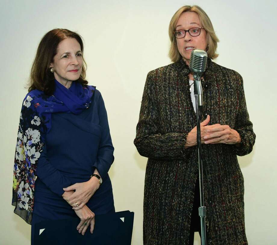 State Representatives Gail Lavielle and Terrie Wood at an awards event in Norwalk in October, 2019. Photo: Erik Trautmann / Hearst Connecticut Media / Norwalk Hour