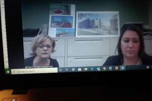 Torrington health and municipal officials held two teleconferences Friday morning with restaurant and salon owners, answering their questions, as they prepare to reopen for business May 20. Above, Mayor Elinor Carbone, left, and Economic Development Director Rista Malanca listen to a question during the restaurant conference.
