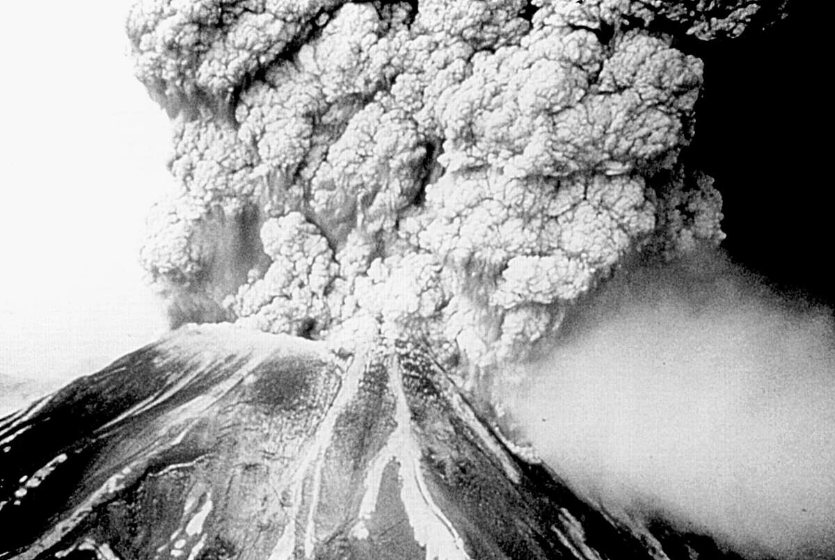 Eruption of the volcano Mount St Helens, which became the epicenter of an earthquake measuring 5.1 on the Richter scale, May 18, 1980. Image courtesy CDC. (Photo via Smith Collection/Gado/Getty Images).