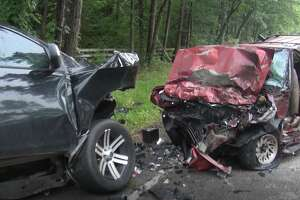 Two people died in a head-on crash on FM 1097 in Montgomery County Friday, authorities said,