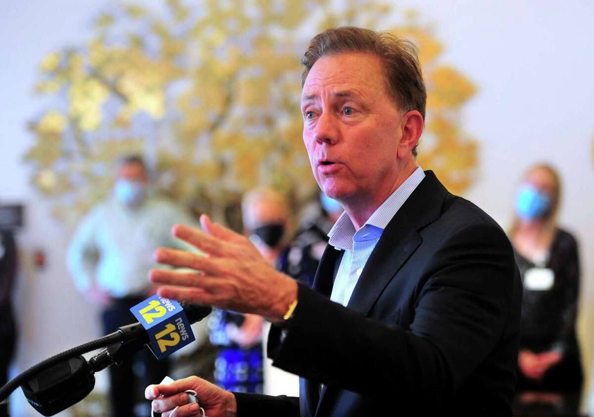 Gov. Ned Lamont speaks speaks during a visit to The Jewish Home senior services facility in Bridgeport in May.