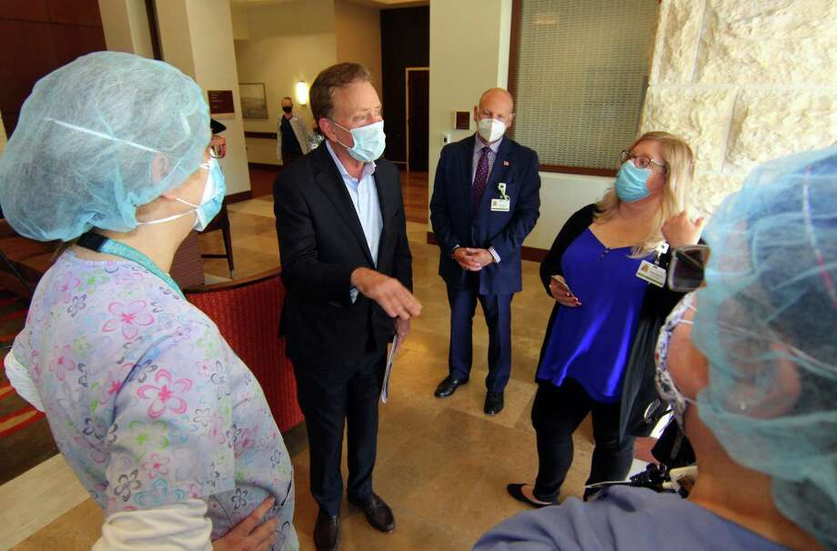Gov. Ned Lamont speaks to staff during a visit to The Jewish Home senior services facility on Park Ave in Bridgeport, Conn., on Friday May 15, 2020. Photo: Christian Abraham / Hearst Connecticut Media / Connecticut Post
