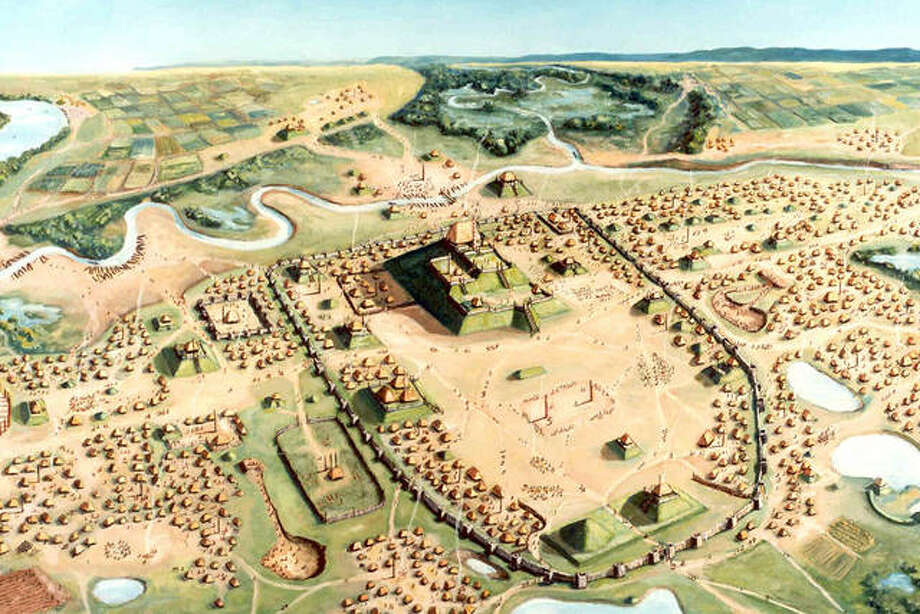 Cahokia was an early experiment in urban living, illustrated by this William R. Iseminger painting at the Cahokia Mounds State Historic Site. University of Illinois researchers have determined the community's rise parallels the onset of corn agriculture.