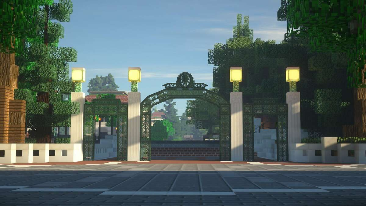 Sather Gate at UC Berkeley is shown as part of a virtual campus built by students and alumni through Minecraft.