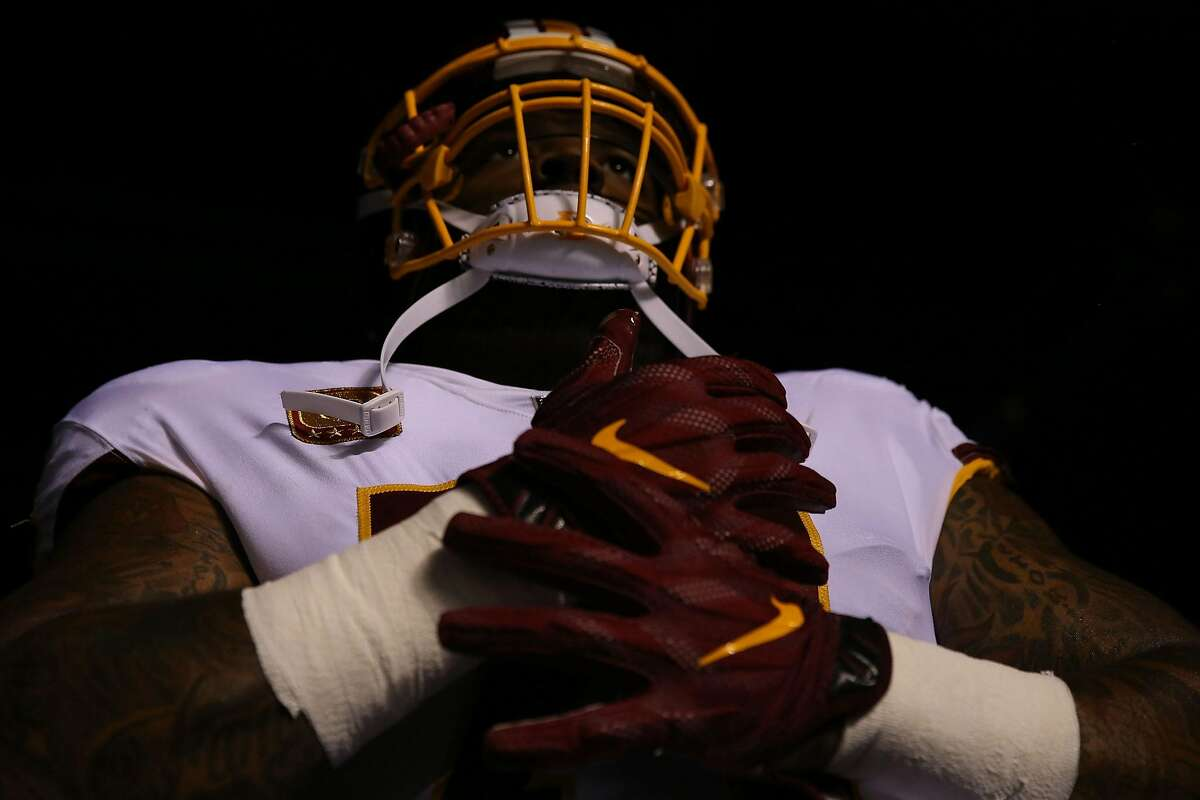 Trent Williams of the Washington Redskins takes the field against the Philadelphia Eagles at Lincoln Financial Field in Philadelphia on October 23, 2017. (Abbie Parr/Getty Images/TNS)