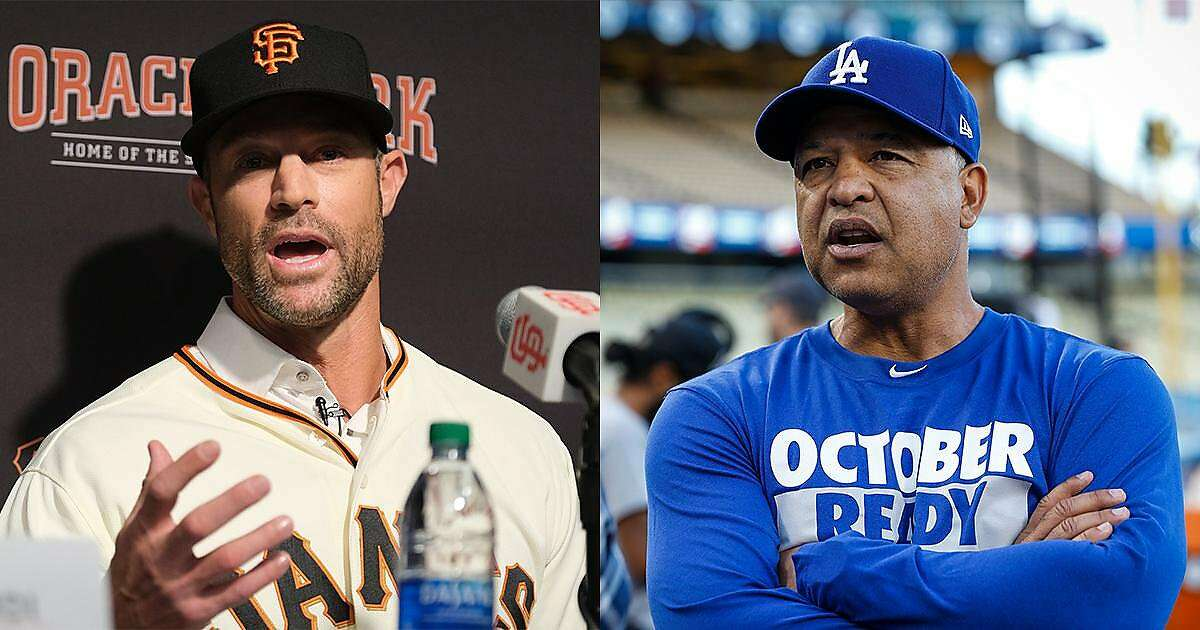 Composite photo of San Francisco Giants Manager Gabe Kapler (left) and Los Angeles Dodgers manager Dave Roberts (right). Photos by Nick Otto / San Francisco Chronicle & Brett Coomer / Houston Chronicle