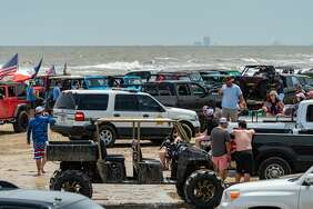 Jeep Weekend started as a small weekend event for Jeep lovers in Crystal Beach but has grown to a large gathering of hundreds of vehicles including Jeeps, UTV's, 4-wheelers and more on the beach. Photo made on May 16, 2020. Fran Ruchalski/The Enterprise