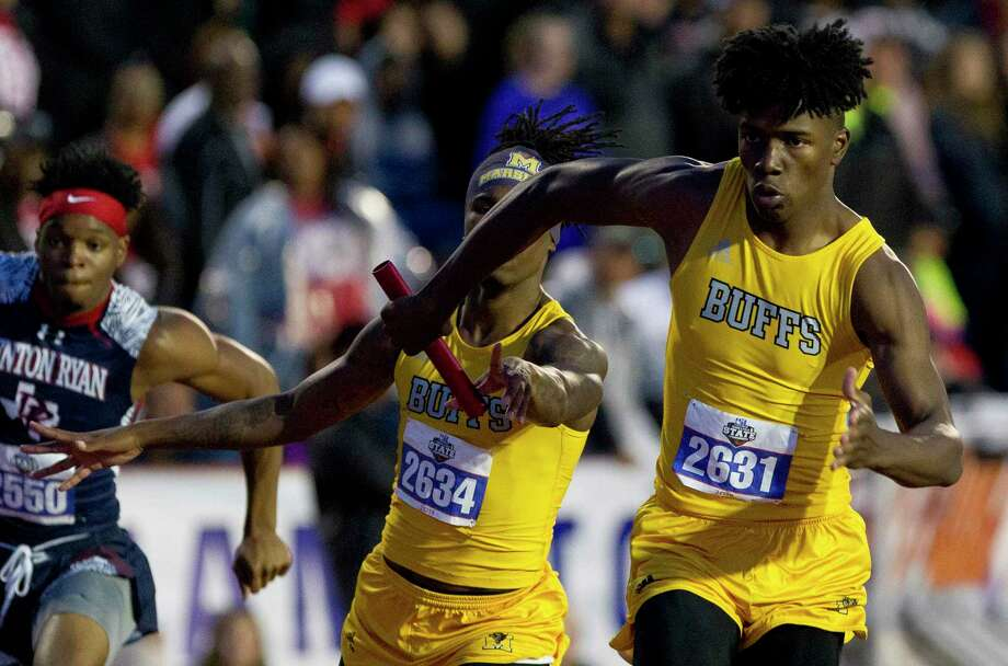 Fort Bend Marshall competes in the 5A boys 800-meter relay during the UIL State Track & Field Championships at Mike A. Myers Stadium, Friday, May, 10, 2019, in Austin. Marshall finished first in the event. Photo: Jason Fochtman, Houston Chronicle / Staff Photographer / © 2019 Houston Chronicle