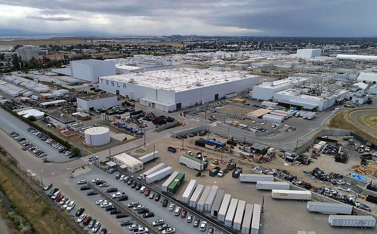 The Tesla factory as work restarted before Alameda County officials gave the approval to reopen in Fremont, Calif., on Monday, May 11, 2020.