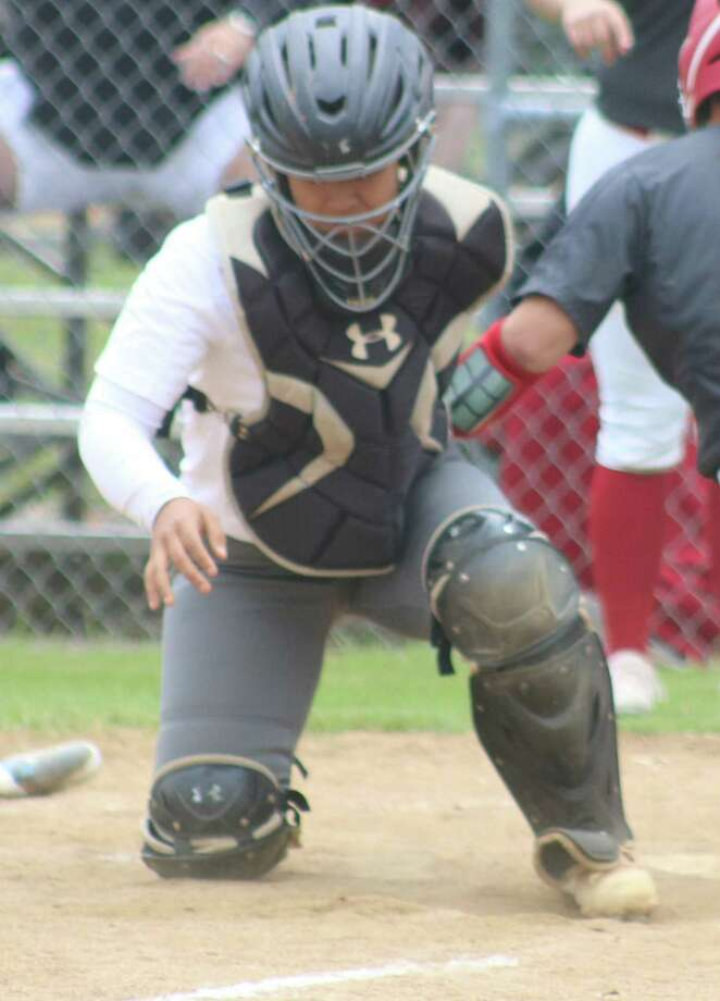 Memorial catcher Maria Andrade secured First Team All-District honors for her efforts in the shortened season this spring. Photo: Robert Avery