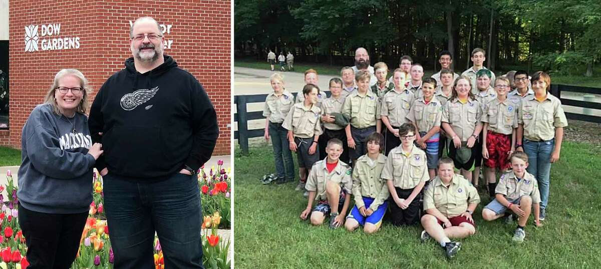 Left: Ashley and Phil Zeigler, longtime Midland residents who run Midland Boy Scout Troop #768, where Phil is the Scout Master. Right: Troop #768 at camp last summer. (Photos provided)