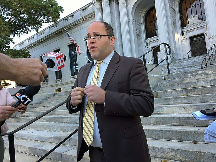 Brian Festa speaks to the media outside the state Supreme Court in Hartford last year. Photo: CTNewsJunkie.com File Photo