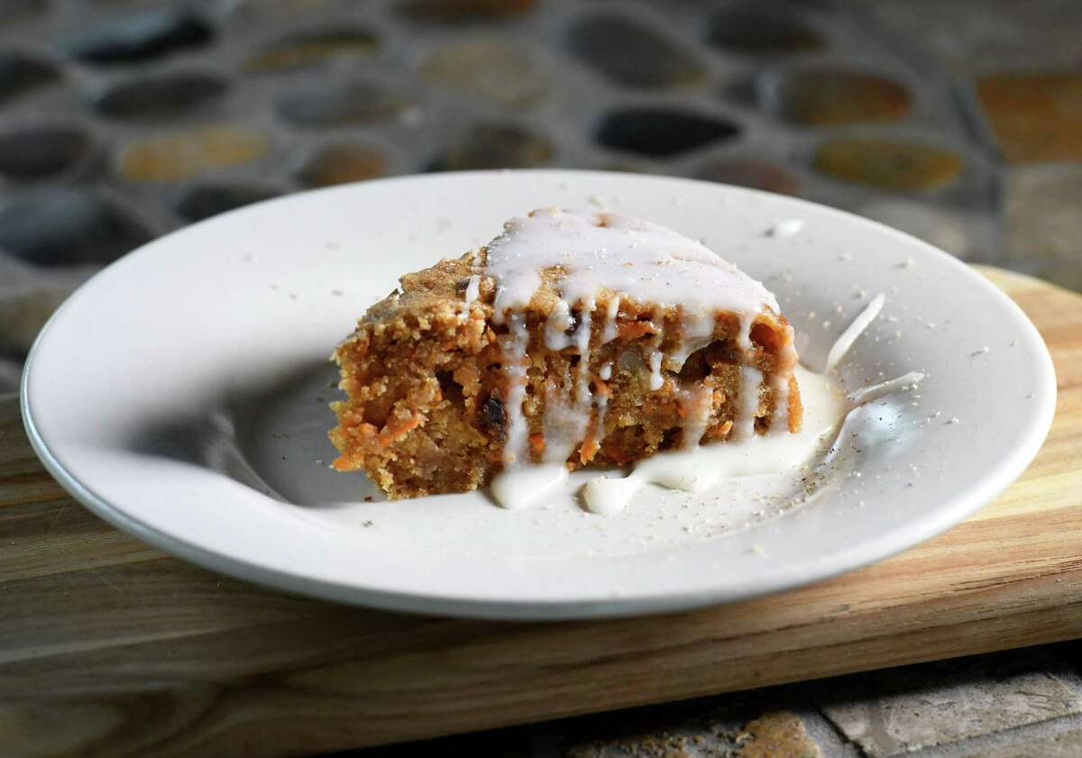 Almond carrot cake with buttery lemon glaze; carrot, cinnamon, ginger, nutmeg, almond flour, pecan and raisins on Thursday, May, 14, 2020, at Caroline Barrett's home in Delmar, N.Y. (Will Waldron/Times Union)