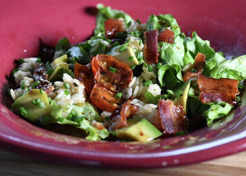 Pasta salad with maple vinaigrette; lettuce, avocado, bacon, chives, grape tomato and star pasta on Thursday, May, 14, 2020, at Caroline Barrett's home in Delmar, N.Y. (Will Waldron/Times Union)