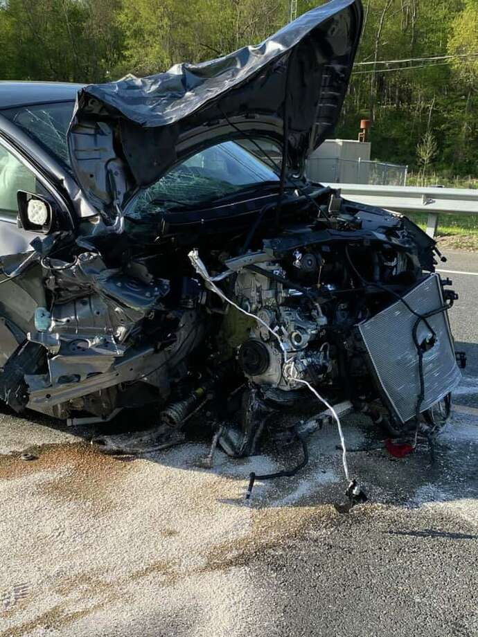 One of the vehicles involved in Sunday's two-vehicle crash on Route 25 in Newtown, Conn. Photo: Botsford Fire Rescue
