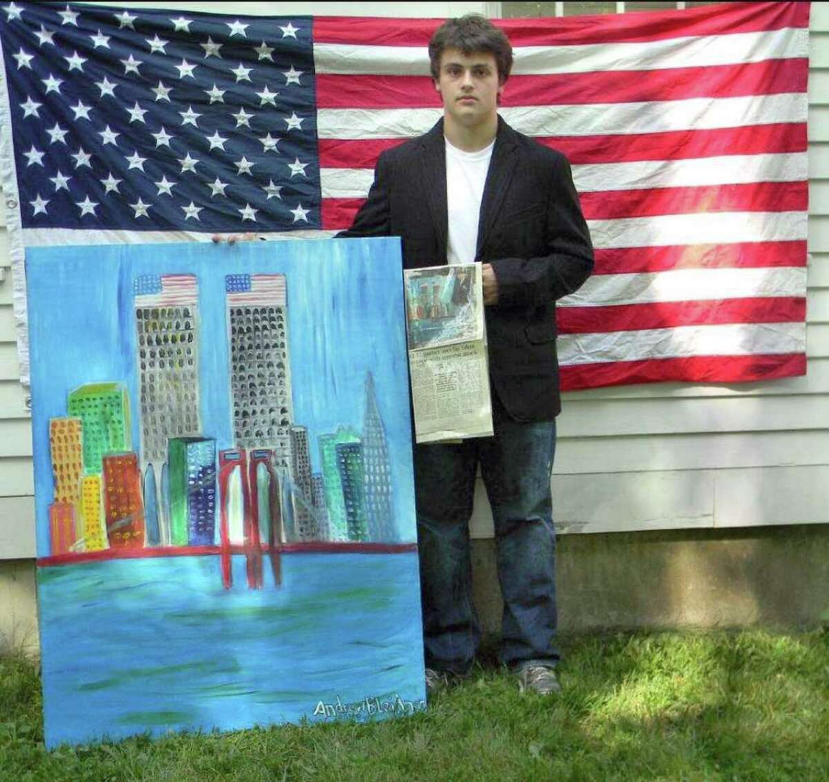 Pomperaug High senior Andrew Bleidner was just 8 years old when he captured a nation's heartache on canvas following the Sept. 11 terrorist attacks. Next month, his World Trade Center painting will be displayed at the Helvrich Hotel in New Brunswick, N.J.