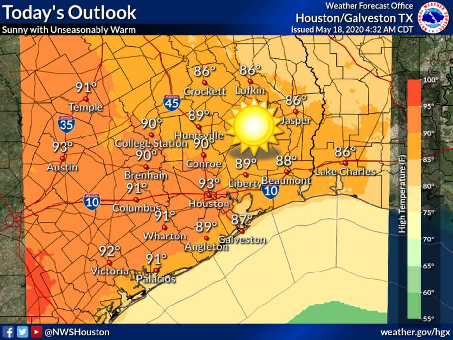 Temperatures in the 90s are predicted throughout the Houston area on Monday, May 18, 2020. Photo: National Weather Service