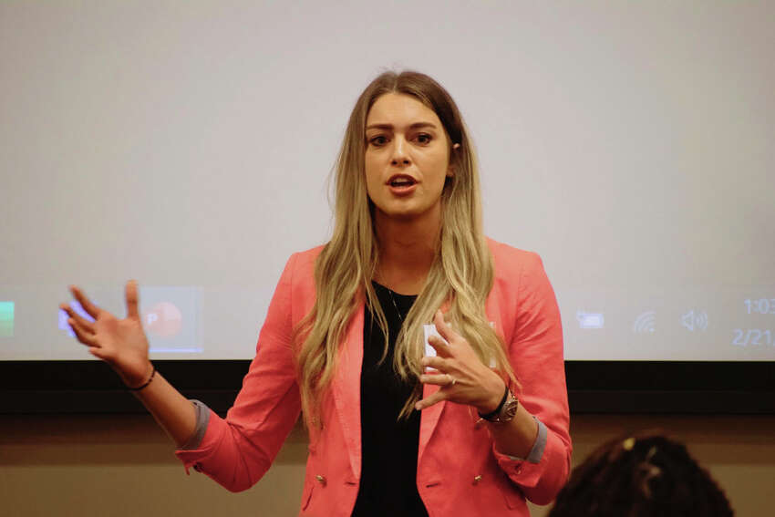 Kimberly A. (Cologgi) Shaffer presenting at The Southeast Regional Association of Applied Sport Psychology Conference, which was hosted by Barry University in February 2020.. (Barry University photo)
