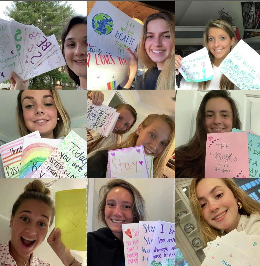 A group of New Canaan High School students created cards to cheer up seniors living in nearby assisted living facilities. Photo: Contributed Photo