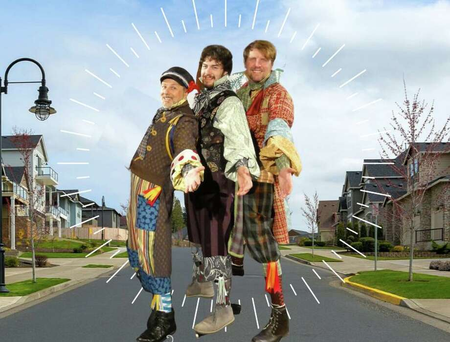 "Performed outdoors on lawns or driveways beginning June 1, ""Pantochino Curbside"" will offer three live, costumed actors performing an original mini-musical. Photo: Pantochino Productions / Contributed Image"