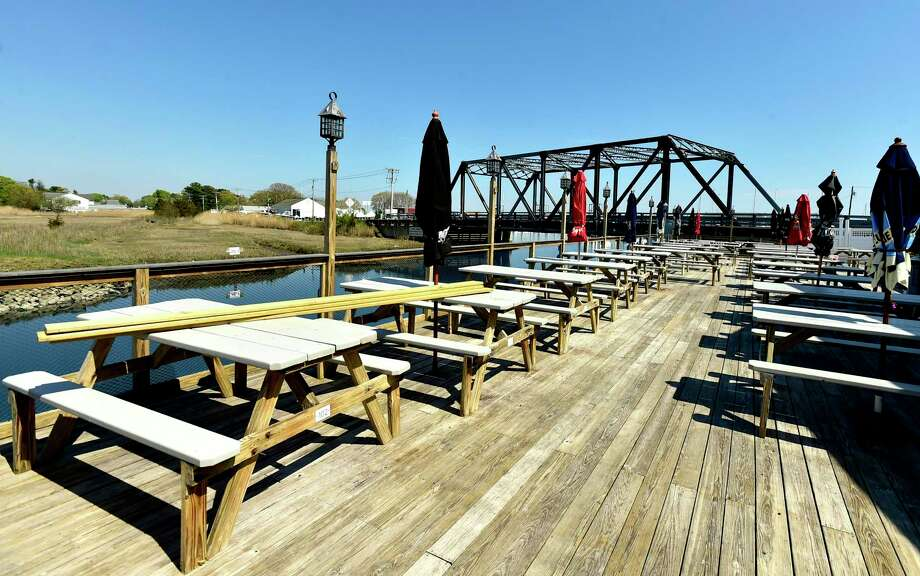 Westbrook, Connecticut - Friday, May 15, 2020: The back deck that will be removing tables to make social-distancing space at Bill's Seafood of Westbrook. The removed tables will be moved to the parking lot of the classic Shoreline seafood restaurant that will be preparing to open for outdoor dining during the Coronavirus / Covid-19 pandemic. Photo: Peter Hvizdak / Hearst Connecticut Media / New Haven Register