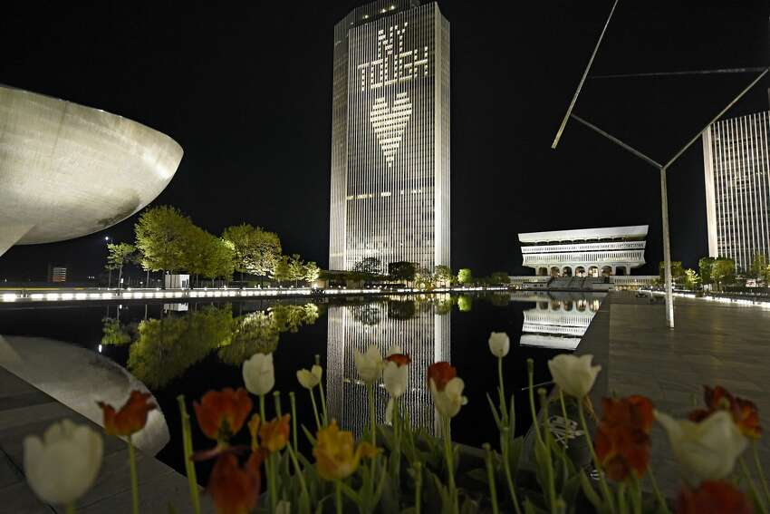 The message of NY Tough is created on the Corning Tower at the Empire State Plaza on Sunday, May 17, 2020 in Albany, N.Y. The message has been displayed during the COVID-19 pandemic. (Lori Van Buren/Times Union)