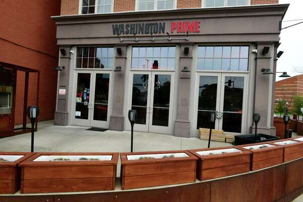 Washington Prime restaurant outdoor seating area Friday, May 8, 2020, in Norwalk, Conn.