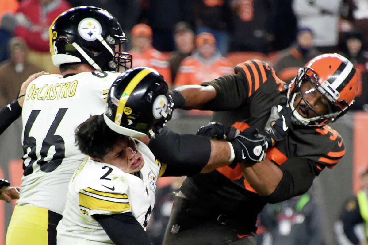 Myles Garrett returns to PittsburghCleveland Browns at Pittsburgh Steelers, Oct. 18The low point of the 2019 NFL season came when Browns defensive end Myles Garrett ripped off the helmet of Steelers quarterback Mason Rudolph and hit him in the head with it during a game on Nov. 14. Garrett was suspended for the rest of the season without pay. He accused Rudolph of using a racial slur during the skirmish, which the quarterback denied. While there's a good chance Rudolph will not be under center when the two teams meet up, it's anyone's guess how the Steelers (and their fans) will react when Garrett takes the field.