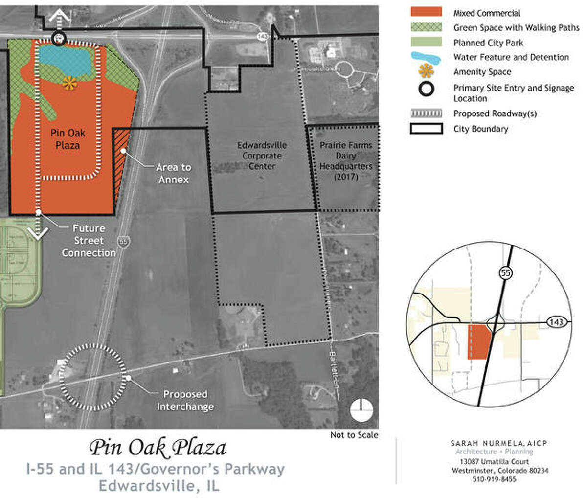 A concept plan for Pin Oak Plaza, a 95-acre area of planned hotel, retail and office space immediately north of Plummer Family Park, at at the southwest corner of the Interstate 55 and Route 143 interchange.