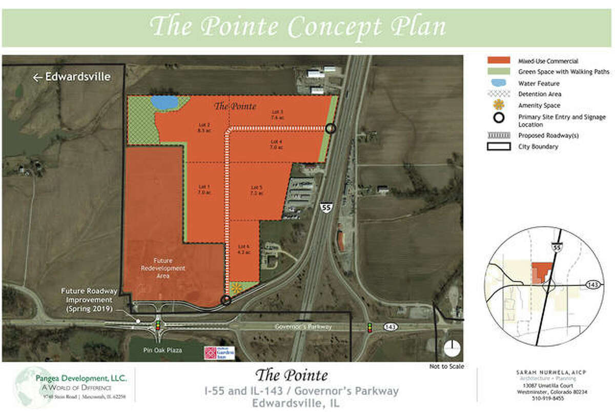 A concept plan for The Pointe, a 55-acre retail and commercial area proposed for the northwest corner of the Interstate 55 and Route 143 interchange. Roadway improvements include a four-way traffic signal for the Blackburn/Route 143/Sports Park Drive intersection.