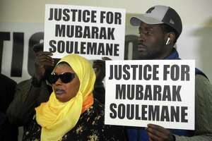 Omo Mohammed, mother of slain teen Mubarak Soulemane, attends a news conference in Bridgeport on Feb. 20. Soulemane, 19, was shot and killed by police Jan. 13 in West Haven after he allegedly stole a car from an individual in Norwalk and fled from police at speeds that reached 90 mph along Interstate 95.