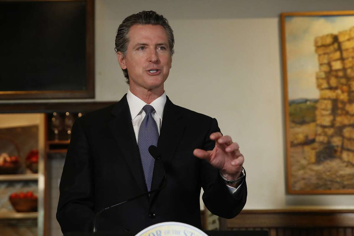 Gov. Gavin Newsom announced new criteria related to coronavirus hospitalizations and testing that could allow counties to open faster than the state, during a news conference at Mustards Grill in Napa, Calif., Monday May 18, 2020. Newsom says the new criteria could apply to 53 of the state's 58 counties. (AP Photo/Rich Pedroncelli, Pool)