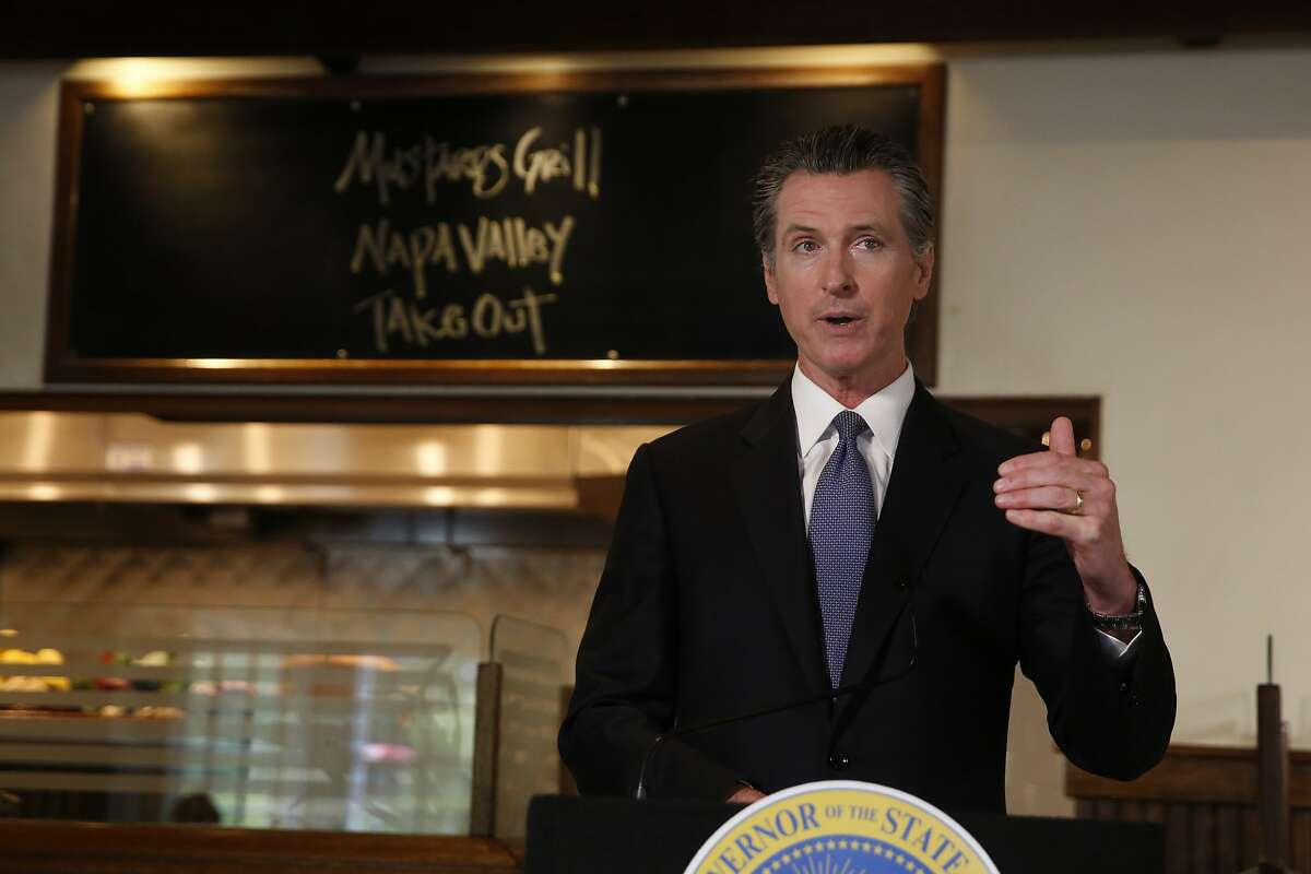 Gov. Gavin Newsom announces new criteria related to coronavirus hospitalizations and testing that could allow counties to open faster than the state, during a news conference at Mustards Grill in Napa, Calif., Monday May 18, 2020. (AP Photo/Rich Pedroncelli, Pool)