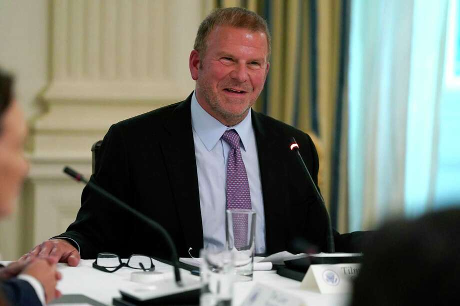 Tilman Fertitta, chairman and CEO of Landry's Inc., speaks during a meeting with restaurant industry executives about the coronavirus response, in the White House in May. Landry's had a banner year in 2019, placing in No. 4 on the Chronicle 100's top private companies. Photo: Evan Vucci, STF / Associated Press / Copyright 2020 The Associated Press. All rights reserved