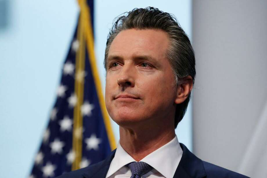 Gov. Gavin Newsom listens to a reporters question during a news conference to update the state's response to the coronavirus at the Governor's Office of Emergency Services in Rancho Cordova, Calif., Monday, March 23, 2020. Photo: Rich Pedroncelli/Associated Press