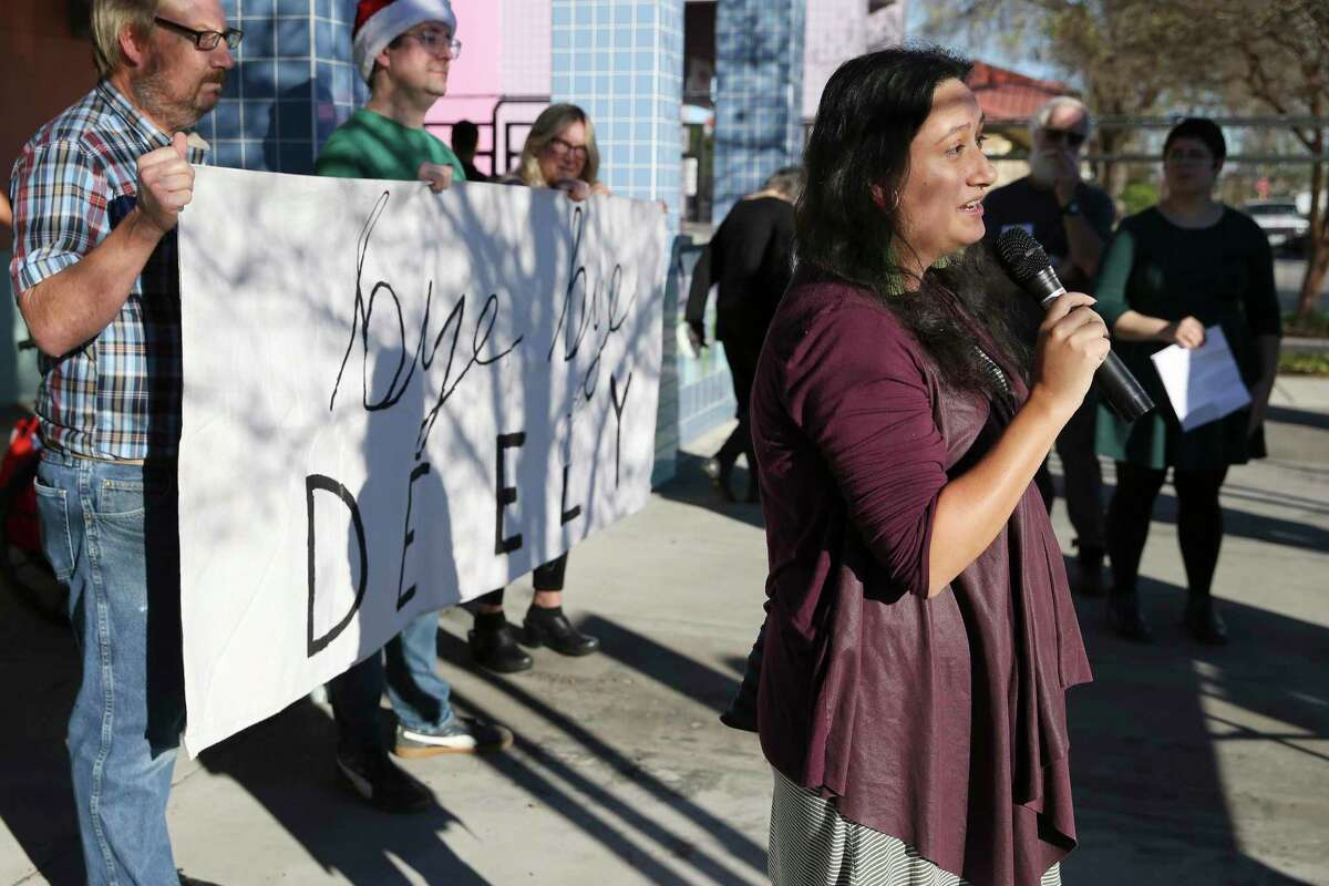 Diana Lopez of Southwest Workers Union speaks as the Sierra Club holds a press conference and a gathering with other organizations to celebrate the closing of the J.T. Deely coal plant on Saturday, Dec. 15, 2018. CPS Energy will shut down the J.T. Deely coal-fired power plant at the end of 2018, marking the 4th coal-fired power plant to close this year. The shutdown comes after a hot summer tested the grid after losing the other 3 coal-fired power plants due to low prices in the market. Sierra Club officials are now focusing their attention on closing the Spruce coal plant by no later than 2025. (Kin Man Hui/San Antonio Express-News)
