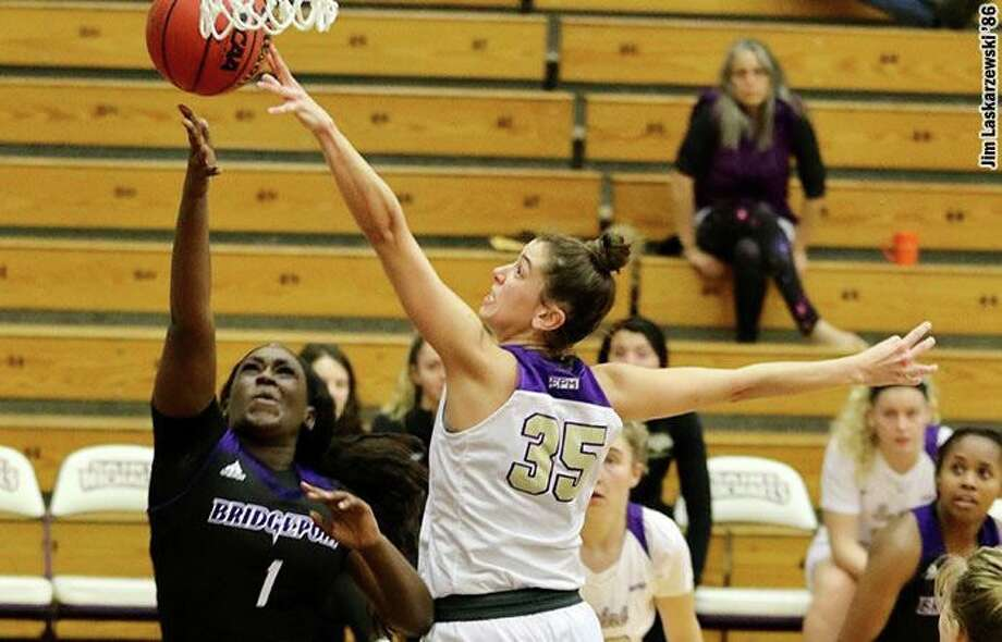 A defensive specialist, Alyssa Breunig was the only player in the Northeast-10 Conference to rank among the top 10 in both blocks and steals per game this past winter, Photo: Contributed Photo / St. Michael's College Athletics / Trumbull Times