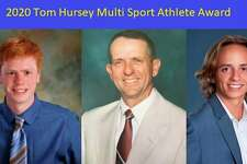 Midland High School senior-athletes Kevin Hoefer, left, and Ty Pritchett, right, have earned the Tom Hursey Multi-Sport Athlete Award. Pictured at center is Tom Hursey, who coached a total of 41 sports seasons at MHS. (Photos provided)