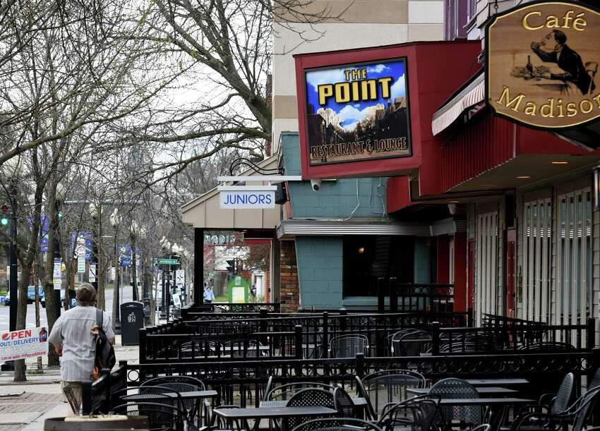 The section of Madison Avenue in Albany near where it joins Western Avenue has been suggested as a block to close to vehicle traffic to allow for more outdoor dining space for restaurants. The strip is home to multiple restaurants that already have patio space, including Junior's Bar & Grill, The Point and Cafe Madison. (Will Waldron/Times Union)