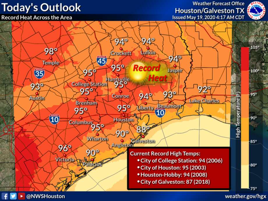 Near-record-high heat is predicted in Houston on Tuesday, May 19, 2020. Photo: National Weather Service