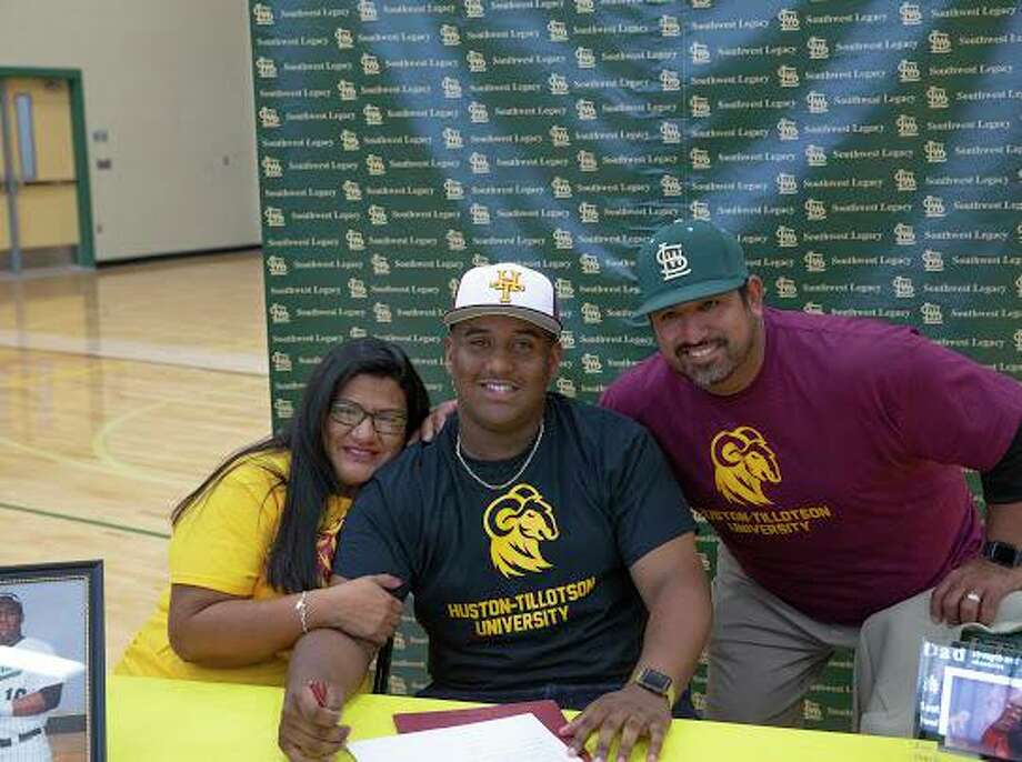 Southwest Legacy's Zech Robichaux has signed with Huston-Tillotson University to play baseball. He's pictured surrounded by, from left, his mother Diana Robichaux and Huston-Tillotson baseball coach Mike Hearn. Photo: Courtesy Photo /