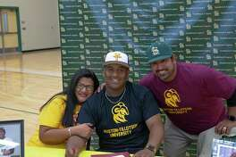 Southwest Legacy's Zech Robichaux has signed with Huston-Tillotson University to play baseball. He's pictured surrounded by, from left, his mother Diana Robichaux and Huston-Tillotson baseball coach Mike Hearn.