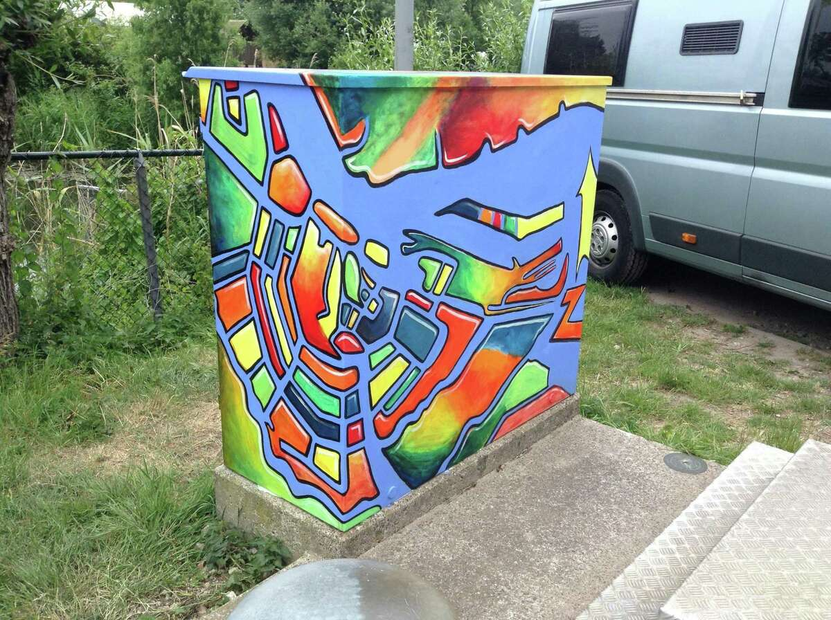 Liz Squillace painted this utility box, with a map of Amsterdam and its canals, for a campground in the Netherlands.