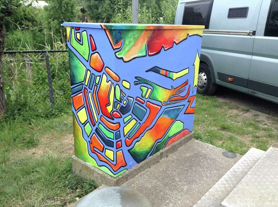 Liz Squillace painted this utility box, with a map of Amsterdam and its canals, for a campground in the Netherlands. Photo: Contributed Photo