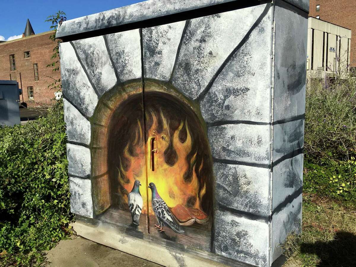 One of the utility box designs that Liz Squillace painted in Bridgeport. She's painted 50 such boxes in total, including in Stamford.