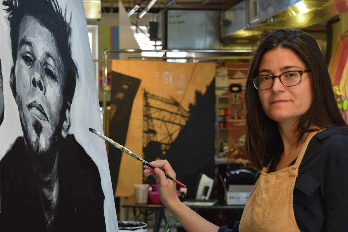 Artist Liz Squillace in her studio.