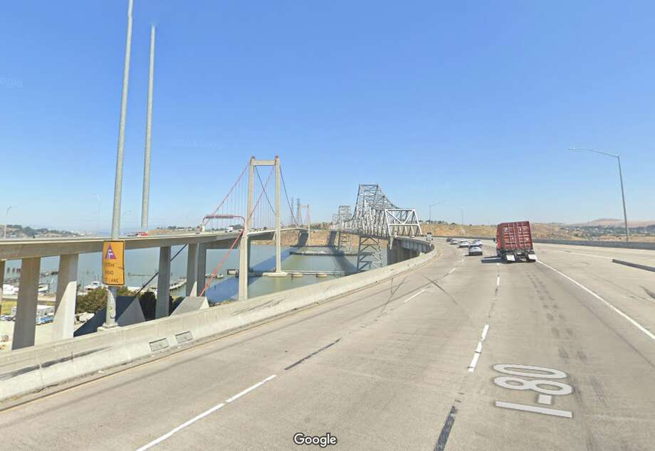 A man died in a crash off the Carquinez Bridge on May 17, 2020. Photo: Google Street View