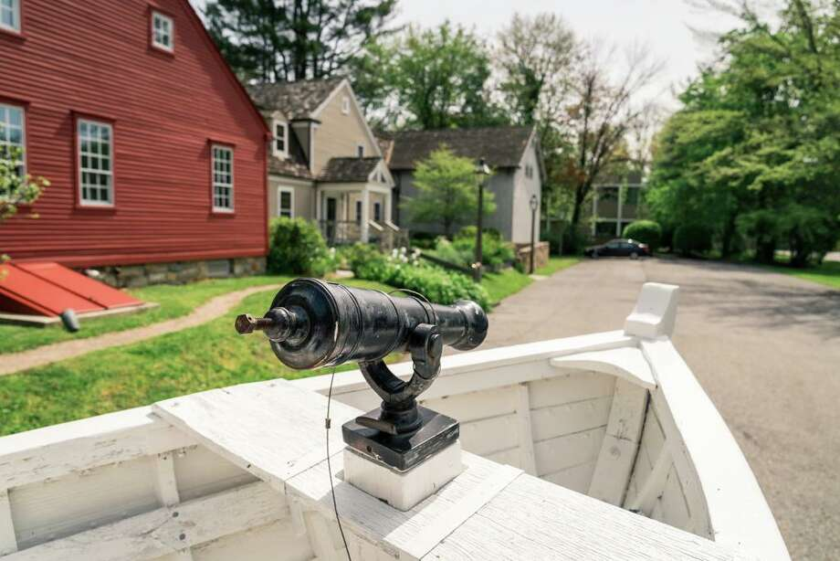 Middlesex Cannon -- A replica of a cannon is propped on the bow of the boat. During the Revolutionary War, cannons on swivel mounts had an advantage over vessels with stationary cannon mounts. Photo: Katharine Calderwood