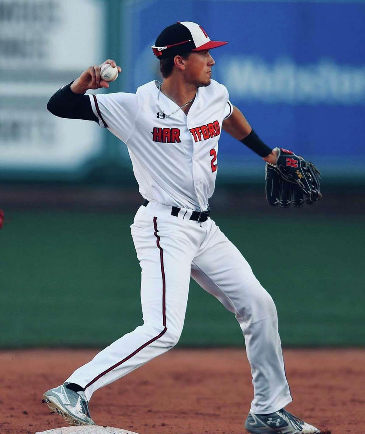 Jackson Olson, a 2016 graduate of New Milford High School and 2020 graduate of the University of Hartford, is hoping to be drafted into the MLB next month. He is shown above as the starting short stop while playing at the University of Hartford.